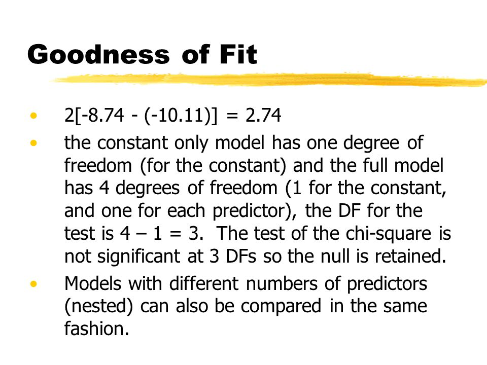 Goodness of Fit 2[-8.74 - (-10.11)] = 2.74